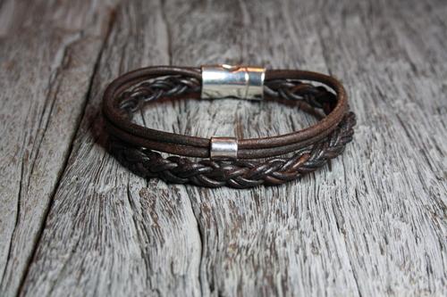 Stoere vintage leren heren armband | STYLE DK66